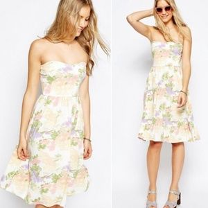 Asos floral sweetheart strapless jersey midi dress